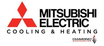 mitsubishi electric cooling and heating logo. mitsubishi electric heating and cooling diamond contractor logo s