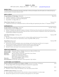 Electrical Engineering Internship Resume Sample Resume For Study