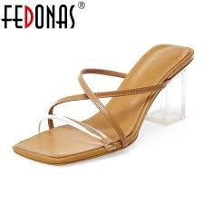 FEDONAS 2020 <b>Summer</b> Genuine Leather Women Sandals <b>High</b> ...