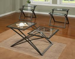 glass top coffee table with metal base brown