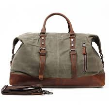 new arival large capacity canvas and full grain leather duffel bags waterproof handbag with shoulder
