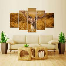 wall art animal print wall art safari wall decor for living room 5 panels deer
