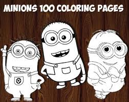 A large collection of minions coloring pages from the cartoon despicable me. Minions Coloring Pages Printable Coloring Pages Printable Etsy