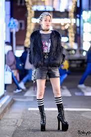 harajuku girl w faux fur coat anna sui x marc jacobs bag moschino h m choker