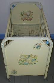retro baby furniture. vintage antique doll e crib bed amsco metal rare deluxe 1955 model swivel wood casters play beads toy retro baby furniture