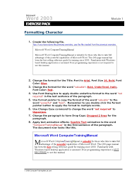 All About Microsoft Office Word Word Exercises With Video Training