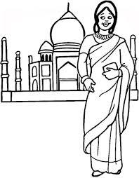 Indiase Vrouw En Taj Mahal Kleurplaat Gratis Kleurplaten Printen