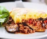 beef and eggplant bake with polenta crust
