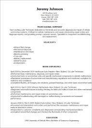 Resume Templates: Lube Technician Resume