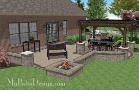 creative brick patio design with pergola fire pit and bar 4 brick patios fire pit e93 pit