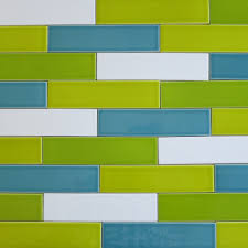 Multi Coloured Kitchen Tiles Ceramic Subway Tile Chartreuse Green Kiln Collection Modwalls Tile