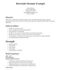 Bartending Resume Objective