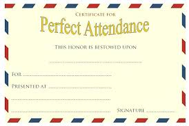 Perfect Attendance Certificate Template Word Free