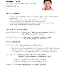 Sample Resume Fresh Graduates Financial Management For Graduate