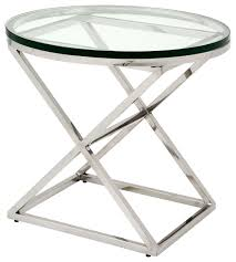 conrad modern classic silver glass round side table