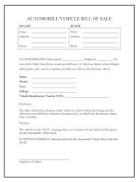 Free Sample Of Bill Of Sale Printable Sample Auto Bill Of Sale Form Forms And Template In 2019
