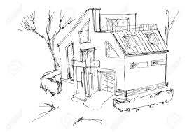 A Rough Sketch Of A Modern Home Sketch Of The Cottage In The