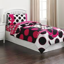 minnie mouse black pink polka dots twin comforter sheet set 4 piece bed in a bag com