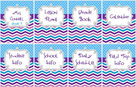 free printable chevron teacher binder pack