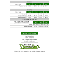 Size Charts Donnellys Clothing