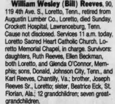 Obituary for William Wesley Reeves (Aged 90) - Newspapers.com