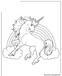 Unicorn Horse With Rainbow For Girls Coloring Pages Printable