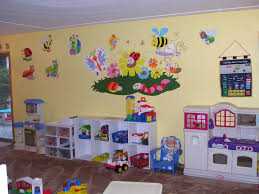 Preschool Kitchen Furniture Attractive Fun Playroom Ideas For Kids With White Paint Walls And