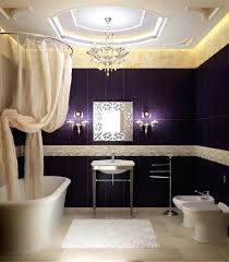 interesting powder room design with oval shape white bathtub and
