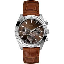 guess guess w12004g2 men s chase brown leather strap watch