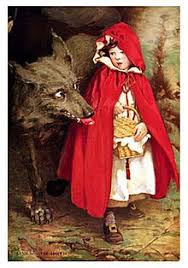 a depiction of the big bad wolf with little red riding hood by jessie will smith