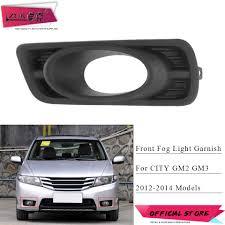 Zuk Front Bumper Fog Light Fog Lamp Cover Garnish For Honda City 2012 2013 2014 Gm2 Gm3 Foglights Foglamp Hood Trim Frame Black