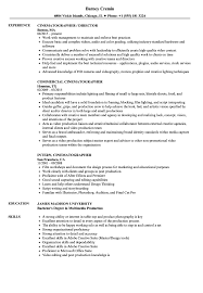 Cinematographer Sample Resume Cinematographer Resume Samples Velvet Jobs 2