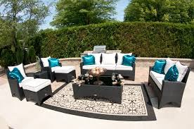 outdoor deck furniture ideas. luxury black resin deck furniture set with ottoman and white cushions plus traditional outdoor rug ideas w