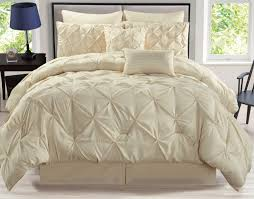 8 piece rochelle pinched pleat ivory comforter set queen