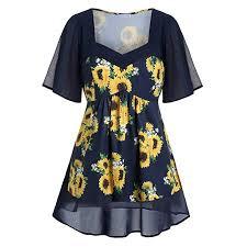 Twgone Sunflower Dresses For Women Plus Size V Neck Short