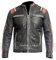 resident white and orange stripe zip pockets racer leather jacket front view