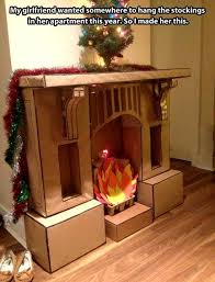 fake cardboard fireplace