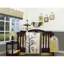 yellow gray white monkey 13 pc crib bedding set baby nursery quilt per diaper
