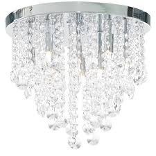 ip44 bathroom flush fitting ceiling wall light chrome crystal droplet chandelier