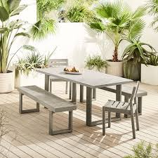 concrete outdoor dining table portside