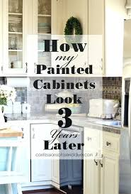 painting old kitchen cabinets painted kitchen cabinets three years later painting laminate kitchen cabinets without sanding