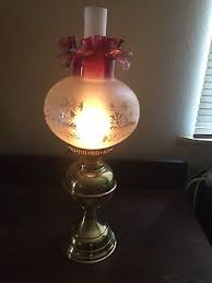 antique victorian gone with the wind oil electric lamp cranberry crimp rim shade