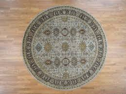 8 9 x8 10 round silver karajeh design pure wool hand knotted oriental rug sh41818