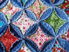 Here is a great tutorial of the circle jean quilt I'm making. I'm ... & Directions for making a denim circle rag quilt. A Passionate Quilter:  Finished the Denim Quilt! Adamdwight.com