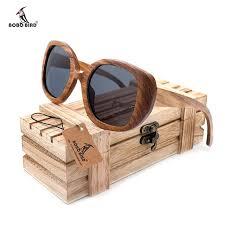bobo bird new mens vintage zebra wood sunglasses womens polarized uv400 protect coating mirror wood sun glasses in wooden box sunglasses