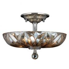 mansfield collection 4 light chrome finish and golden teak crystal bowl semi flush mount ceiling lig