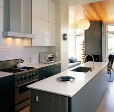 Concrete Floors Kitchen Mid Century Kitchen Cabinets Brick Exposed Wall Small Kitchen