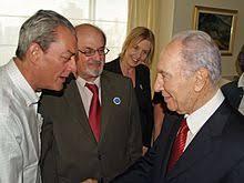 salman rushdie  paul auster and rushdie greeting i president shimon peres caro llewelyn in 2008