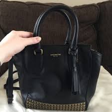 Coach Legacy Mini Tanner handbag, black studded
