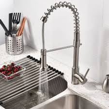 quilmes brushed nickel kitchen sink faucet with pull down sprayer